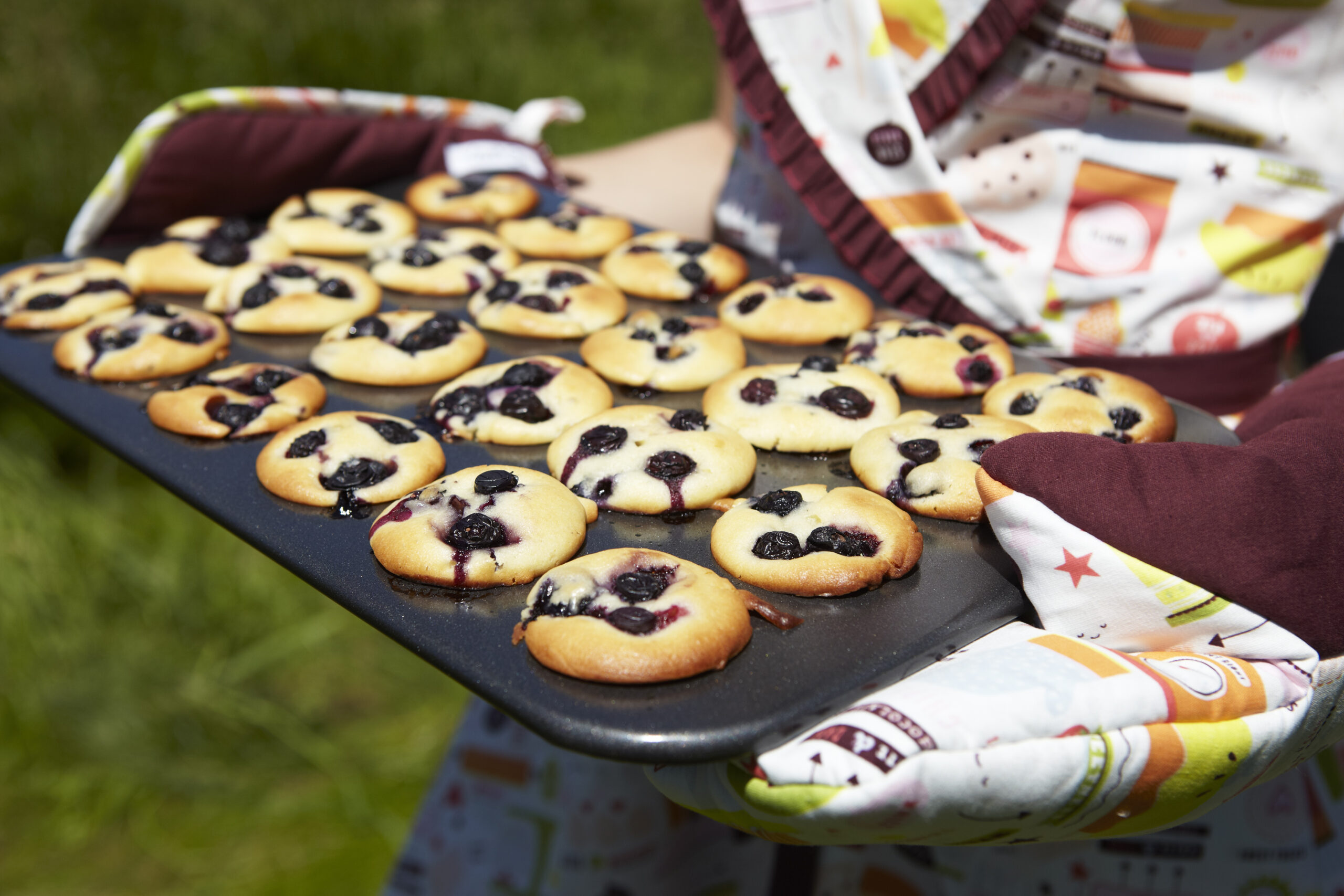 blueberry muffins and whisk oven mitts